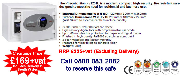 buy Pheonix FS1251E safe in cardiff